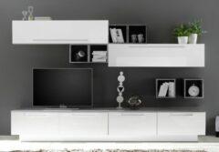 Pesaro Mobilia TV-wandmeubel set Fleur in hoogglans wit met grijs beton