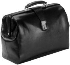 Arzttasche Leder 43 cm Laptopfach Dermata schwarz