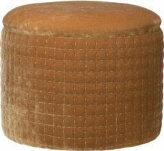 Cosy @ Home Poef velvet - Camel poefje hout met opbergplek - D35 x H27 cm