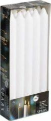 Spaas 10x Witte dinerkaarsen 24 cm 8 branduren - Geurloze kaarsen - Huishoudkaarsen/tafelkaarsen/kandelaarkaarsen