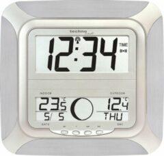 Zilveren Radio gestuurde wandklok - Datum - Temperatuur - Wekkerfunctie - Technoline WS 8118