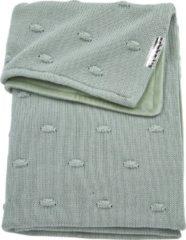 Groene Meyco Silverline Knots ledikantdeken met velours 100x150 cm stone green