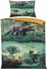 Groene Cotton Club Dekbedovertrek -Dinosaurussen Multi Kleur - Eenpersoons - -140 x 220-cm + 1 kussensloop 60x70cm