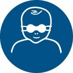 Blauwe Tarifold Pictogram bordje Opaak oogbescherming kinderen verplicht | Ø 100 mm - verpakt per 2 stuks
