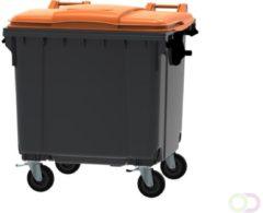 Ese Afvalcontainer 1100 liter grijs/oranje 4 wielen