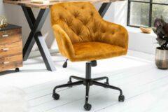 Interieurs online Bureaustoel verstelbaar in hoogte DUTCH COMFORT mosterdgeel stof fluweel met doorgestikte stiksels