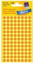 Avery-Zweckform 3178 Etiketten à 8 mm Papier Helder-oranje 416 stuks Permanent Etiketten voor markeringspunten