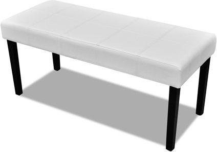 Afbeelding van Witte VidaXL Kunstleren bankje 106 x 43 x 46 cm (Wit)