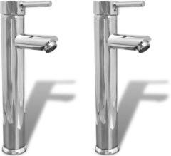 Zilveren VidaXL Badkamer mengkraan 2 st chroom