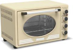 Creme witte TurboTronic TT-EV45 Retro RVS Elektrische Oven Cream 45 liter