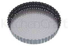 Zwarte Ronde geribbelde bakvorm Geperforeerd met losse bodem, 23 cm - Masterclass