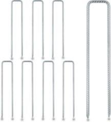 Zilveren Relaxdays grondpennen - gronddoekpennen - haringen - grondpin - u-vorm - 8 stuks - staal