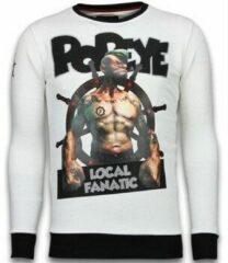Local Fanatic Popeye - Rhinestone Sweater - Wit Sweaters / Crewnecks Heren Sweater Maat XL