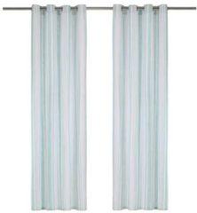 VidaXL Gordijnen met metalen ringen 2 st 140x225 cm katoen blauwe streep