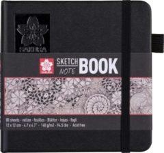 Creme witte Sakura schets/notitieboek - 12x12 cm - crème wit