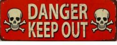 Rode Mooiblik Danger Keep Out. Metalen wandbord 13 x 36 cm.