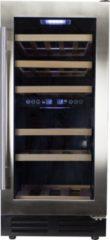 Roestvrijstalen Wijnklimaatkast.nl Wijnklimaatkast Premium met RVS glazen deur - 32 Flessen