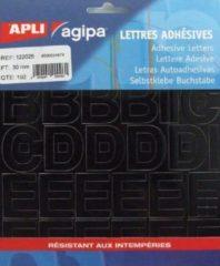 Zwarte Agipa etiketten cijfers en letters letterhoogte 30 mm, 192 letters