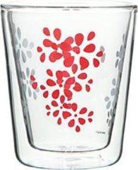 Zak!Designs - Lily Dubbelwandige Koffiebeker - Borrosilicaat Glas - 200 ml - Rood
