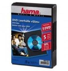 Hama 51180 DVD-hoes 1 CD/DVD/Blu-Ray Polypropyleen Zwart 5 stuks (b x h x d) 135 x 190 x 7 mm