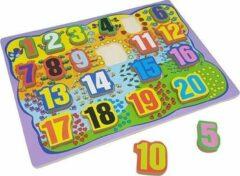 Playwood Puzzel cijfers 1-20 40x 30 cm dikke stukken (1,2 cm)