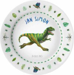 Donkergroene Mies To Go Kinderbordje met naam - dinosaurus t-rex planten insecten - BPA vrij kunststof - cadeau jongen - Dieren in aquarel - geschilderd door Mies