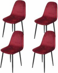 Gebor Set van 4 eetkamerstoelen fluweel – Model Inoui - Modern Ontworpen Stoel – Bordeaux rood Velvet – Design – Fluweel – Bordeaux Rood