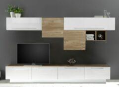 Pesaro Mobilia TV-wandmeubel set Nelly in hoogglans wit met eiken