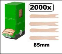 Bruine Thema party 2000x Frietvorkje hout 85mm - Patat friet frites bakje snack vorkje