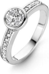 New Bling 9NB-0264-58 - Zilveren ring - 100 facet zirkonia rond 7 mm - maat 58 - zilverkleurig
