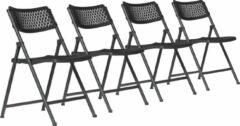Van Vugt Event Products Klapstoel Aran - Zwart - Set van 4 - Eenvoudig inklapbaar - Modern design