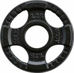Zwarte Body-Solid Olympische gietijzeren halterschijven 50 mm OPTK - 1.25 KG
