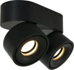 Steinhauer Fez Opbouwspot LED ovaal 2 lichts zwart 3.000k dimbaar - Design - 2 jaar garantie
