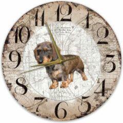 Bruine Creatief Art Houten Klok - 30cm - Hond - Ruwharige tekkel