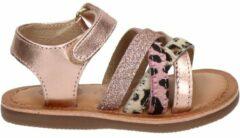 Goudkleurige Gioseppo leren sandalen met glitters roségoud