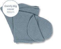 Blauwe Doomoo Basics - Cover Comfy Big Tetra Blue - Hoes voor Voedingskussen Comfy Big - Biokatoen - 190cm