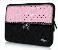 Laptophoes 13,3 inch patroon chic roze zwart - Sleevy - laptop sleeve - laptopcover