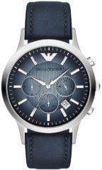 Emporio Armani AR2473 Horloge Renato zilver-leder zilverkleurig-blauw 43 mm
