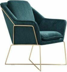IVOL Design fauteuil Selena - Smaragd groen met gouden frame