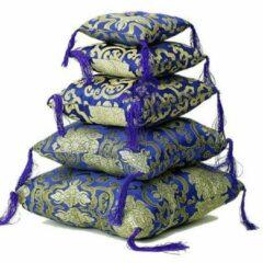Bruine Yogi & Yogini Klankschaalkussen blauw met bloemmotief - 18x18x5 - Blauw - Polyester