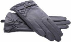 IMoshion Zwarte echt lederen touchscreen handschoenen met sierlijk polsriempje en stiksel