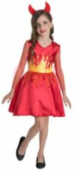 Xenos Halloween duivel jurk voor kinderen - maat 128