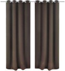 Bruine VidaXL Blackout - Kant en klaar gordijn met metalen ringen - Bruin - 135x245 cm - 2 stuks