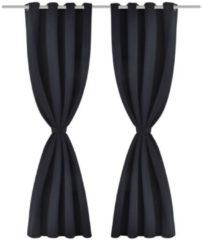 VidaXL Gordijn met metalen ringen verduisterend 270x245 zwart