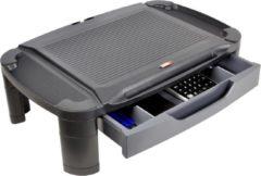 Zwarte DESQ® Monitorverhoger met lade | Unieke houder voor tablet of telefoon | 3 hoogtes | Groot formaat