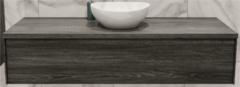 Boss & Wessing Badkamermeubel BWS Madrid Washed Oak 150 cm met Massief Topblad en Keramische Waskom (0 kraangaten)