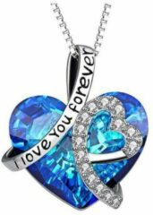 Ketting hart ♥ blauw rvs en strass I Love You forever ®Pippashop