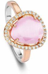Roze Velini jewels-R6302P-48 -Ring -925 Zilver rosé- Gekleurde Cubic Zirkonia