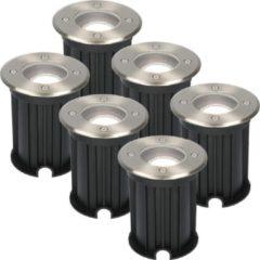 Roestvrijstalen HOFTRONIC™ 6x Maisy dimbare LED grondspot rond RVS 5W 6000K IP67 straal waterdicht 3 jaar garantie
