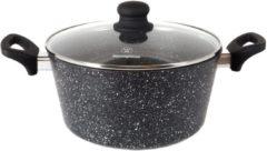 Zwarte Westinghouse Black Marble Braadpan - Ø 24 cm - Anti-Aanbak Stone Coating met een Soft Touch steel en glazen deksel - Voor inductie en alle andere warmtebronnen